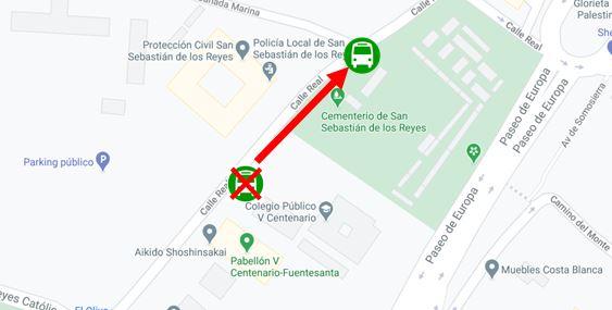 Imagen plano de la parada V Centenario